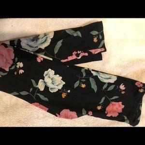 Kids Black Floral Leggings